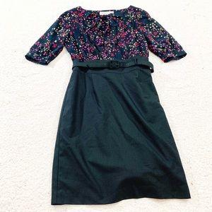 Trina Turk star print belted silk bow midi dress